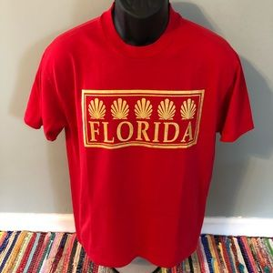 80s Florida Clam Tee Shirt Red Vintage Medium USA
